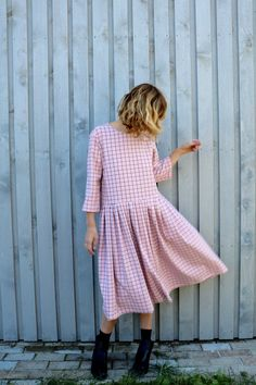 Pink Oversized Dress in Grid Print - Oversize Dress - Checkered Dress - Pink Loose Fit Dress - Handmade by OFFON by OffOn on Etsy