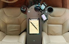 Create a mobile office and workstation in your car. JourniDock is a desk that attaches to your center console. Useful for getting get work done and docking your electronics on the road. Office Gadgets, Car Gadgets, Technology Gadgets, Mobile Desk, Mobile Office, Radios, Car Office, Office Desk, Work Station Desk