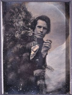 Self Portrait of Josiah Johnson Hawes in a Fanciful Alpine Setting  Hand Tinted, Manipulated Daguerreotype
