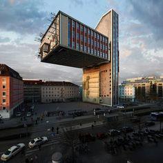 Фотограф Виктор Энрич демонстрирует безграничные возможности фотошопа в проектировании на примере одного здания -  Мюнхенского отеля NH Deutscher Kaiser. / Западло