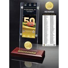 Super Bowl 50 Ticket & Bronze Flip Coin Acrylic Desk Top