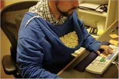 No bowl? No problem: (Got to appreciate the ingenuity of this - hands free snacking.)