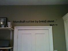 Different verse above door to garage Kitchen Words, Word Pictures, Word Art, Art Boards, Diy Art, Silhouette Cameo, Garage, Bible, Bling