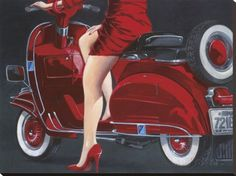 """Driving a Vespa is definitely a whole lot about style,"""" she explained. The Vespa was the very first globally prosperous scooter. A scooter is the finest and a Vespa most stylish means to go around the city. The foldable"""" scooter… Continue Reading → Red Wall Art, Red Art, Vespa Girl, Scooter Girl, Red Vespa, Stretched Canvas Prints, Female Art, Portrait, Giclee Print"""