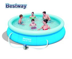 """57274 Bestway 366x76cm (12'x30"""") FAST SET POOL REENGINEED with Water Cleaner DRAIN Valve Top-ring Inflate Pool EASY TO ASSEMBLE"""