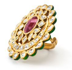 Kundan jewellery reflects the Indian traditional style of ornaments. The vibrant color combination of this exquisite kundan ring, makes it ideal for party and weddings.