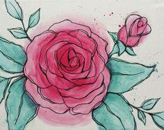 Social Artworking Canvas Painting Design - Watercolor Rose