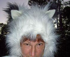 Furry Fox Wolf Hat White with Black Tipped Ears by avantegarb (Accessories, Hat, Animal, furry fox wolf hat, ooak adult fur hat, white fox fur hat, white black fox hat, fur ski hat hood, child fur hat, warm winter fur hat, children fur kid hat, white fox kids hood, faux fur fox hood, arctic fox fur hat, white black fur hat, adult fun fur hat)