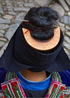 """China   """"Langde Miao woman's hair style, close up"""". Kaili, Guizhou   ©Keren Su"""