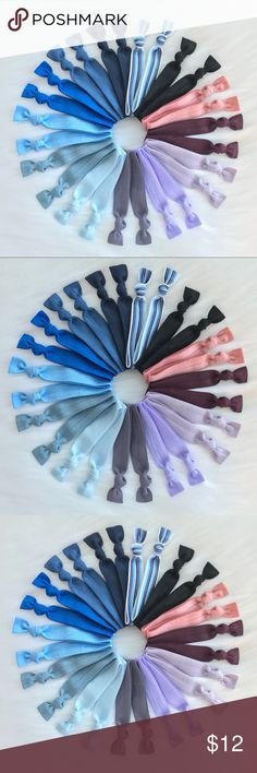"""Set Of 26 elastic hair ties Set of 26 assorted fold over elastic hair ties. These hair ties do not pull or break your hair like a traditional rubber band pony tail holders. They also look great on your wrist as bracelets add a little color to your outfit! All hair ties are hand-made from the highest elastic quality, the ends have been heated sealed to prevent fraying .  Size 5/8"""" width  Fold over hair elastic Ships within 2 business days You will receive 2 of every color above…"""