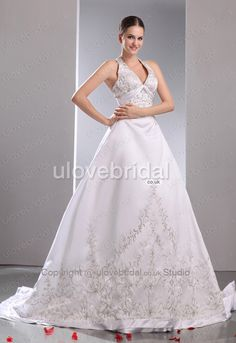 A-line / Princess Halter Clingy Embroidery Satin Wedding Dress