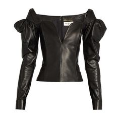 Saint Laurent Sweetheart-neckline leather top (€3.305) ❤ liked on Polyvore featuring tops, black, fitted tops, cut out shoulder top, sweetheart top, long tops and leather tops