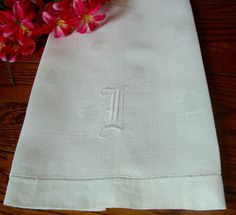 Antique Damask Towel White Show Towel by NettiesCollectibles