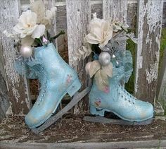 shabby chic ice skate decor , could use old skates too