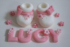Handmade Baby Booties Shower or Christening Cake Topper/Decoration Fondant Flower Cake, Fondant Baby, Fondant Cakes, Fondant Rose, Fondant Figures Tutorial, Fondant Toppers, Cake Tutorial, Decorate Your Own Cake, Cake Templates