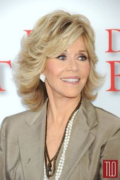 """Jane Fonda at """"The Butler"""" Premiere Tom & Lorenzo Fabulous & Opinionated Mature Women Hairstyles, Mom Hairstyles, Wedding Hairstyles, Jane Fonda Hairstyles, Medium Hair Styles, Curly Hair Styles, Mother Of The Bride Hair, Corte Y Color, Layered Hair"""