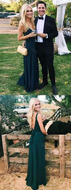 Charming A Line V Neck Open Back Chiffon Dark Green Long Prom Dresses, Formal Summer Dresses Under 100 Summer Formal Dresses, Prom Dresses 2018, Short Dresses, Bridesmaid Dresses, Dress Formal, Dress Long, Party Dresses, Evening Dresses, Formal Prom