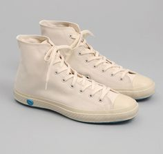 Shoes Like Pottery — HIGH TOP VULCANIZED SNEAKERS, WHITE CANVAS :: HICKOREE'S