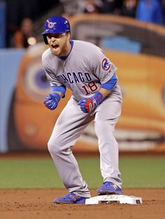 Chicago Cubs' Ben Zobrist celebrates after hitting a run-scoring double against the San Francisco Giants during the ninth inning of Game 4 of baseball's National League Division Series in San Francisco, Tuesday, Oct. Baseball Playoffs, Best Baseball Player, Cubs Baseball, Better Baseball, Chicago Cubs, Ben Zobrist, Cubs Players, Coaches Wife, Cubs Win