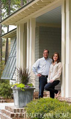 Oversized chamfered columns - nice.  GreenSpace: Charming Carolina Cottage | Traditional Home