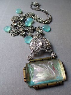 GRACE on THE WATER necklace  reverse painted swan by TheFrenchCircus, $172.00