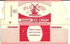 Unused Old Mill Pint Strawberry Ice Cream Carton Davenport Iowa | eBay
