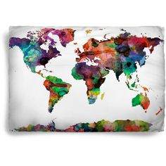 Worldmap Watercolor Design Pillow Covers Color Options Standard or... ($43) ❤ liked on Polyvore featuring home, bed & bath, bedding, bed pillows, black, home & living, king size bed pillows and king bed pillows