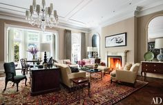 "Sawyer describes the owner as ""bonkers for fireplaces,"" and notes that they added a couple of stunners, sparked by 18th-century examples at Leixlip Castle and Castletown House in Ireland."