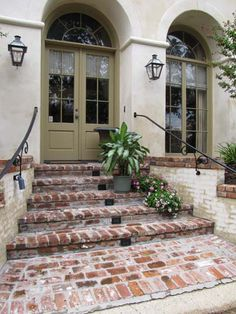 extended lit enty and lit brick steps Brick Porch, Porch Stairs, Brick Walkway, Front Walkway, Front Yard Landscaping, Paver Path, Brick Courtyard, Patio Doors, D House