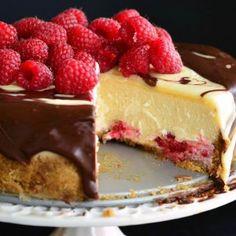 White chocolate ganache, milk chocolate ganache and raspberry cheesecake is pure heaven.