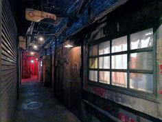This faux-seedy Japanese arcade is made up to look like a maze of alleys straight out of a cyberpunk dystopia.