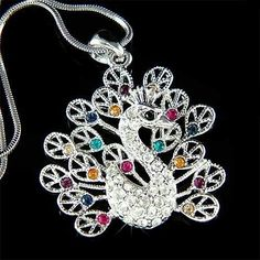 w Swarovski Crystal ~Peacock Peafowl Peahen Feather Charm Pendant Chain Necklace #Unbranded