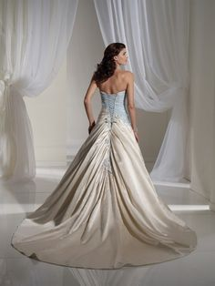 blue wedding dress | Light Blue and White Combination Wedding Dress by Sophia Tolli 3