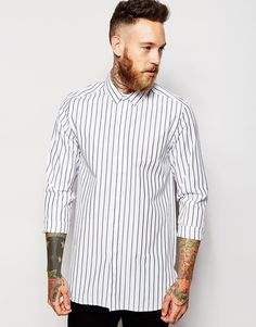 ASOS Shirt With Bold Stripe In Longline And Long Sleeves