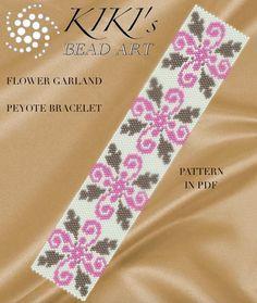 Pattern, peyote bracelet - Flower garland peyote bracelet cuff pattern in PDF - instant download