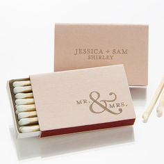Mr Mrs Personalized Match Bo Party Favors Custom Matches Foil Stamped