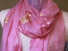 Upcycled Scarf   Long Chiffon scarf in Pink with by maahi on Etsy