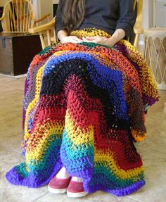 Scrappy Lap-ghan - free pattern for a crochet lap blanket.  Great for using up yarn scraps and as a stashbuster project.
