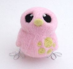 Needlefelted Bird in Pale Pink and Pale Yellow £14.00