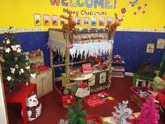 My new role play area, Santa's workshop. The kids love it! I also have a decoration station in front of it with trees and decorations for the kids to decorate themselves. Preschool Christmas, Christmas Activities, Christmas Crafts For Kids, Xmas Crafts, Preschool Activities, Christmas Fun, Dramatic Play Themes, Dramatic Play Area, Dramatic Play Centers