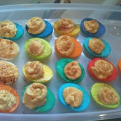 Colorful deviled eggs for Easter! So fun and so simple! Love it!