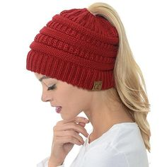 0d4bbed34b4996 Fashion meets comfort when you wear our warm acrylic blend Ponytail Beanie  Hat. It adds a pop to any outfit and keeps your whole head warm without  your bun ...