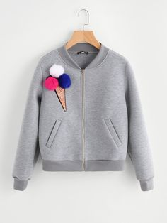 Store Pom Pom Sequin Ice Cream Patch Heather Knit Jacket on-line. SheIn gives Pom Pom Sequin Ice Cream Patch Heather Knit Jacket & extra to suit your trendy wants. Knit Jacket, Gray Jacket, Jacket Style, Moda Junior, Boy Outfits, Fashion Outfits, Baby Cardigan, Jacket Pattern, Kind Mode
