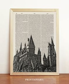 Hogwarts Castle Harry Potter Poster Black White Print Magic Minimalist Upcycled Decor Book Dictionary Gift Her Birthday A4 8.3 x 11.7 in