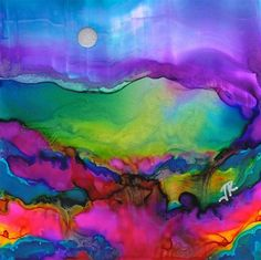Dreamscape No. 288 - alcohol ink by ©June Rollins (via DailyPaintworks)