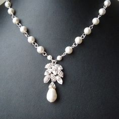 Vintage Style Crystal Leaves Bridal Necklace by luxedeluxe on Etsy, $82.00