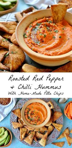 Roasted red pepper and chili hummus with home-made seasoned pitta chips. Easy to… Roasted red pepper and chili hummus with home-made seasoned pitta chips. Easy to make and the perfect snack! Tapas Recipes, Vegetarian Recipes, Cooking Recipes, Healthy Recipes, Vegetarian Canapes, Tapas Ideas, Crab Recipes, Vegetarian Dinners, Party Recipes