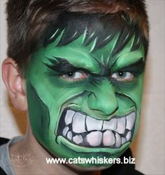 The Hulk face painting design for an article in Illusion magazine by www.catswhiskers.biz