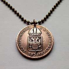 antique 1816 Austria 1 Kreuzer coin pendant necklace escutcheon shield crowned double-headed eagle bird Austrian House of Habsburg No.001279 by acnyCOINJEWELRY on Etsy