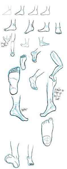 Drawing feet. How is it people do these 3/4 views from the front? See the set of walking feet at the bottom. Struggled just to make them look how they do.